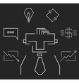 Blackboard rectangular white business icons vector image vector image