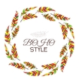 Boho style Wreath of vintage feathers on a white vector image