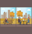 cafe with table and customers couple set vector image