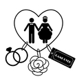 Cartoon Funny Wedding Symbols - Game Over vector image