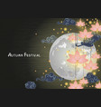 chinese pink lantern on autumn festival night vector image
