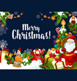 christmas wish santa greetings card vector image