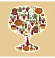 Concept with objects winemaking in shape of glass vector image vector image
