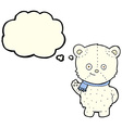 cute cartoon polar bear with thought bubble vector image vector image