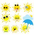 cute cartoon summer sun on white background vector image