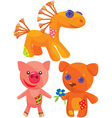 cute hand made soft toys vector image