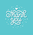 cute thank you hand drawn lettering card vector image