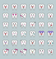 cute tooth cartoon emoticon set filled style vector image vector image