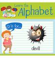 Flashcard letter D is for devil vector image vector image