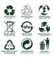 flat icon set for green eco packaging vector image vector image