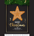 gingerbread star cookie and text on dark banner vector image