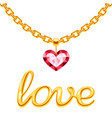 golden chain with crystall pink heart and gold vector image