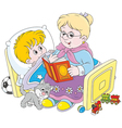 Granny and grandson reading vector image vector image
