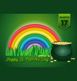 green banner for happy st patricks day vector image