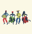 group of four people dancing and playing latin vector image vector image