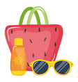 handbag female with blocker solar and sunglasses vector image