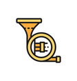 horn trumpet tuba flat color line icon vector image