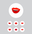 icon flat lips set of lips kiss laugh and other vector image vector image