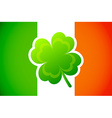 Irish flag with Four-leaf clover vector image