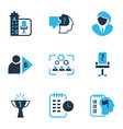 job icons colored set with businesswoman self vector image vector image