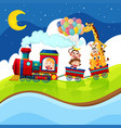 Kids and animals riding on the train at night vector image