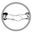 Logo shake hand business vector image