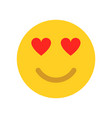 love emoji face yellow face vector image vector image