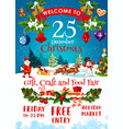 merry christmas fair invitation poster with santa vector image vector image