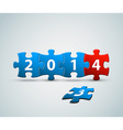 New Year 2014 card made from puzzle pieces vector image vector image