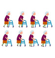 old woman with rolling walker simple cartoon style vector image