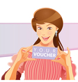 pretty girl holding voucher vector image