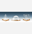 realistic glass cube pyramid and dome with snow vector image