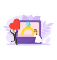 romantic couple newlyweds tiny bride sitting vector image vector image