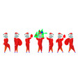 santa claus flat set simplified happy christmas vector image