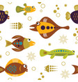 seamless pattern with unusual colorful fishes vector image vector image