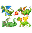 set of green dragon vector image vector image