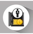 silhouette man manager economy finance box