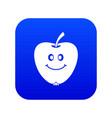 smiling apple icon digital blue vector image vector image