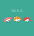 sushi friends forever funny image vector image vector image
