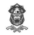 vintage monochrome angry gorilla head vector image vector image