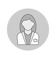 woman doctor avatar outline icon on white vector image