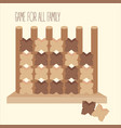 wooden tic tac toe strategy board game vector image