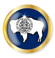 Wyoming flag button vector image