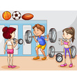 People working out in gym vector image