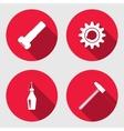 Tool icon set Cogwheel hammer wrench key bolt vector image
