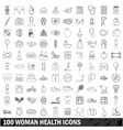 100 woman health icons set outline style vector image vector image