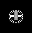 ab monogram logo circle ribbon style outline vector image vector image