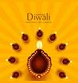 beautiful diwali diya decoration background vector image vector image
