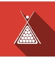 Billiard cue and balls icon with long shadow vector image vector image