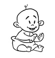 black and white baby cartoon vector image
